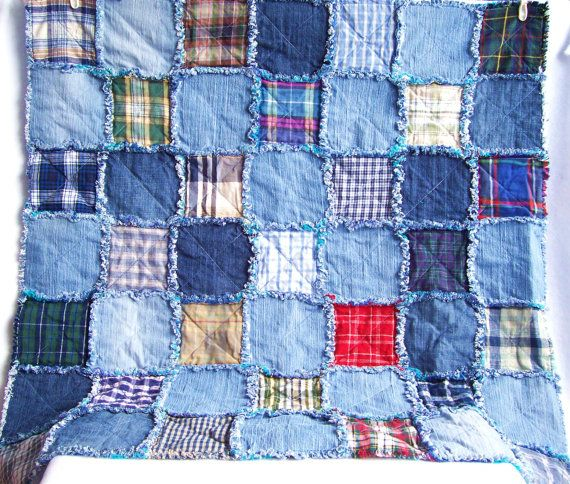 Denim rag quilt tutorial PDF pattern - picnic blanket - recycled eco friendly fabric rag rug