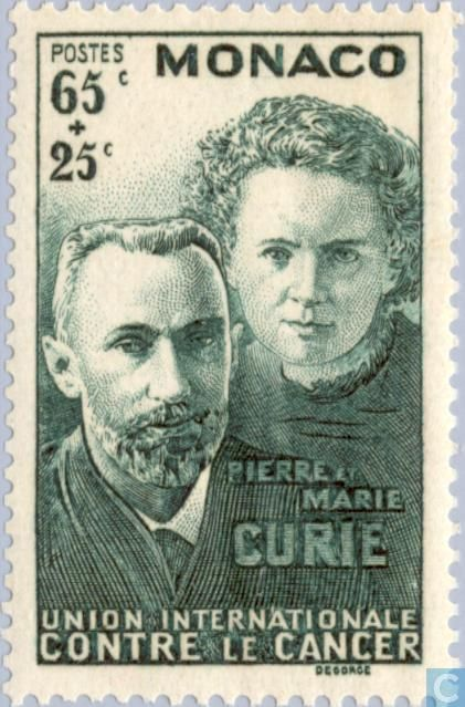 Pierre and Marie Curie physicists and chemists, discovery of radium 1903. Stamp from Monaco 1938