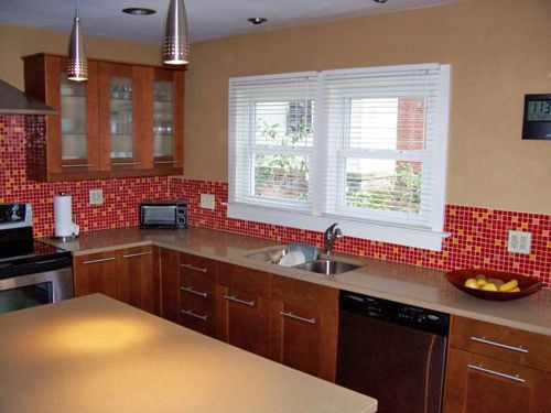 Red And Yellow Bijou Kitchen Backsplash Tiles Tlc Reality Design Tv Show Moving Up Susan