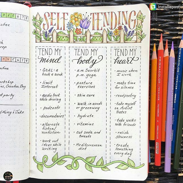 Wonderful Self-Care spread. Love the way body, mind and heart are divided. It's easy, for me anyway, to engage in self care that may not be well-balanced in all three, and this would help. Do you find that you balance your self care? From @jtrafton