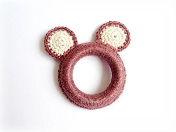 $7.99 Bear Ear Teething Ring Crochet Teether Green by EvelinJewelry