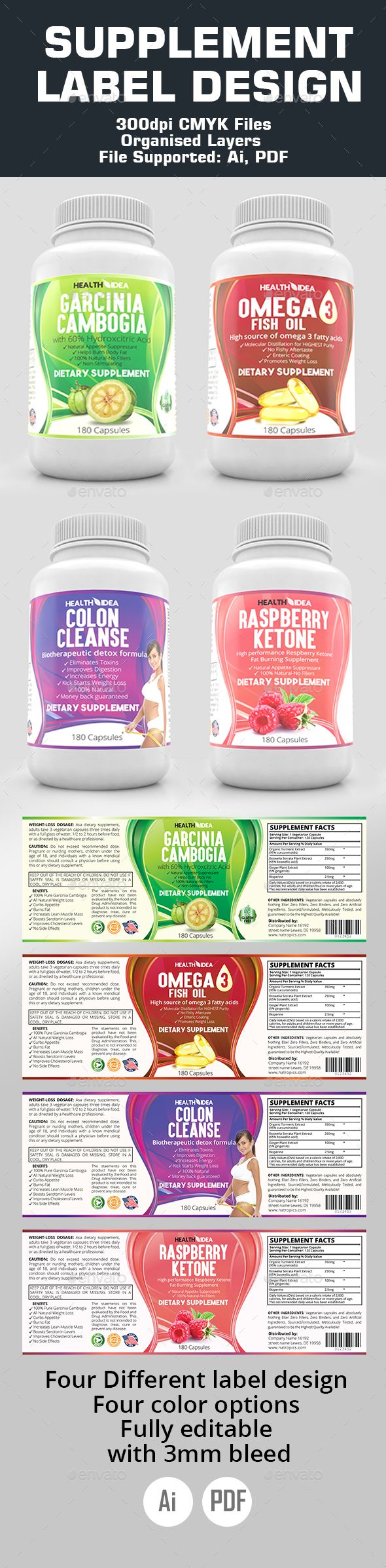 Supplement Label Templates - Packaging Print Templates
