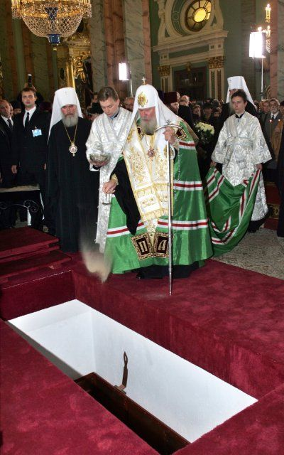 September 27, 2006- Patriarch Alexiy II of Russia (he was the head of Russian Orthodox Church) blessed the coffin with remains of Empress Marie Feodorovna at the end of the ceremony of re-burial in Peter and Paul Cathedral in St Petersburg. So the last will of Marie who asked to bury her next to her husband Alexander III was fulfilled after 80 years from the date of her death.