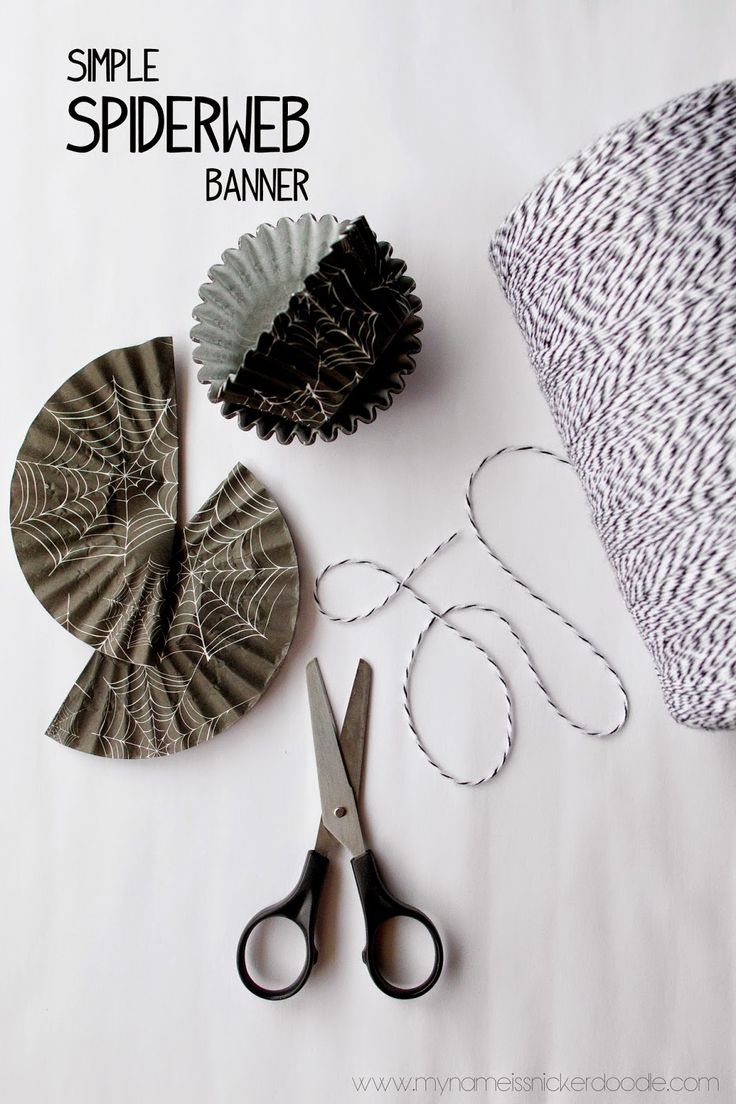 DIY Simple Spiderweb Banner Using Cupcake Liners   My Name Is Snickerdoodle