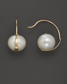 modern jewelry | 14K Yellow Gold Seated Cultured Freshwater Pearl Hoop Earrings |