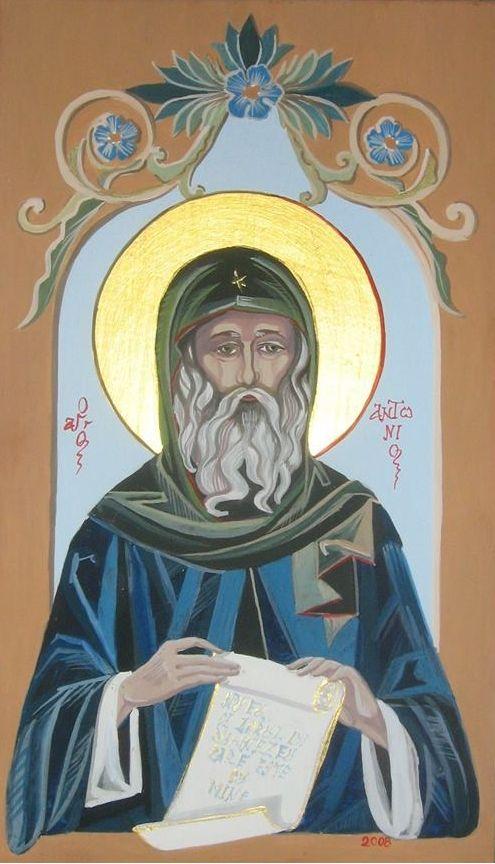 Sf. Antonie cel mare, emulsie pe lemn de tei, 15x20 cm VANDUT!