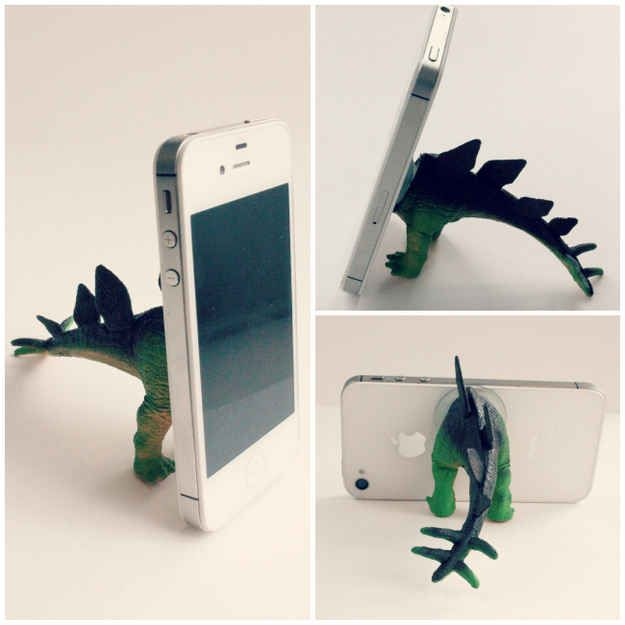 Dino butts can help your phone stand up.