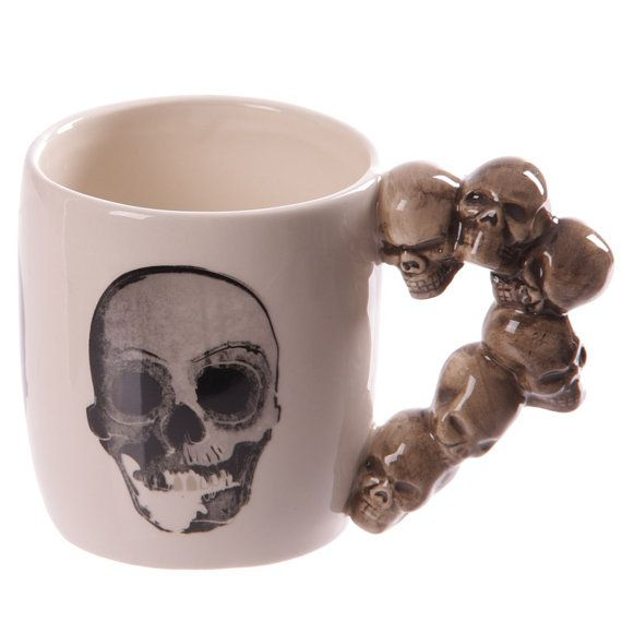 Coffee Cup Novelty Skulls Stack Shaped Handle by getgiftideas