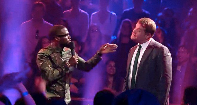 """Kevin Hart and James Corden  Face Off In An Epic Rap Battle  James Corden went pretty rough on Kevin Hart on Wednesday during the Late Late Show rap battle segment Drop the Mic. Watch above to witness Corden making fun of Kevin Hart's height, throwing jibes such as """"Where is he? There he is! There are no small actors but you're all small parts"""" and """"you're so little, when you smoke weed you get junior high.'"""""""