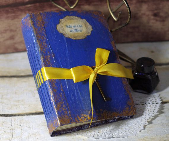 Beauty Beast Wedding Guest Book Vintage Fairytale Photo Al Sbook Tale As Old Time Once Upon A Royal Blue Gold