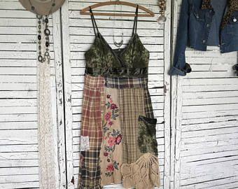 Camisola vestido S/M, pradera Chic, reciclado de ropa, mujeres, vestido de deslizamiento, con franela y Vintage Floral y cordones, Hippie Boho, basura gitana