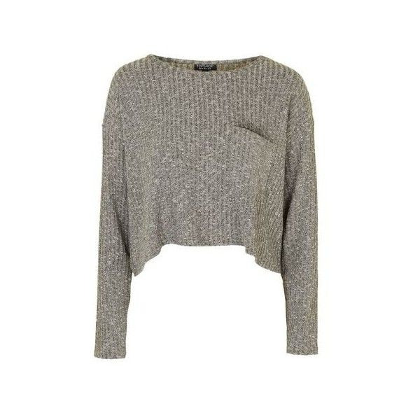 TopShop Slouchy Pocket Top ($38) ❤ liked on Polyvore featuring tops, sweaters, crop top, shirts, khaki, ribbed shirt, long sleeve tops, polyester shirt, long sleeve jersey shirt and topshop tops