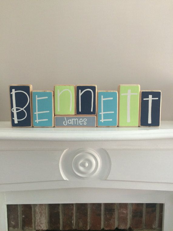 Baby Name Blocks Custom Baby Gift by RuchalskiRustic on Etsy