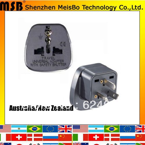 Manufactory supply  10A 250V ABS material 3 flat pin uk eu us swiss italy to au adaptor plug for Australia