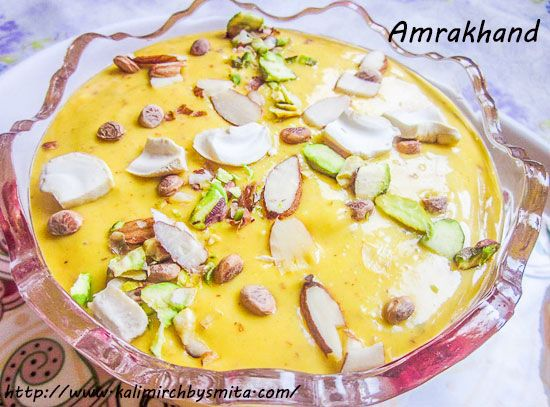 "Amrakhand(Mango Shrikhand) is a Gudi-Padwa (Hindu New Year celebrated in Maharashtra) special dessert, a delightful variation made to traditional dessert ""Shrikhand"" by adding fresh mango pulp to it , a very natural choice as Summer sets in!!"