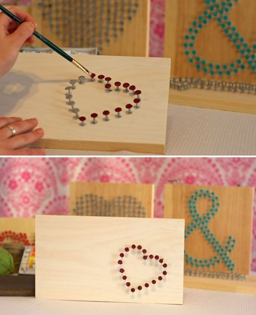 Make a sewing in wood using nails then paint the nails for a pretty design