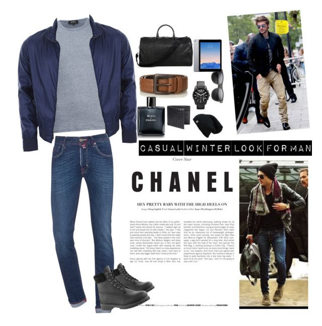 """""""Winter outfit for Men """" by liviasamudera on Polyvore featuring A.P.C., Jacob Cohёn, Bottega Veneta, Armani Exchange, Gucci, Timberland, Chanel, men's fashion and menswear"""