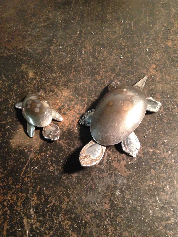 Welded old spoon mama and baby turtles.                                                                                                                                                                                 More