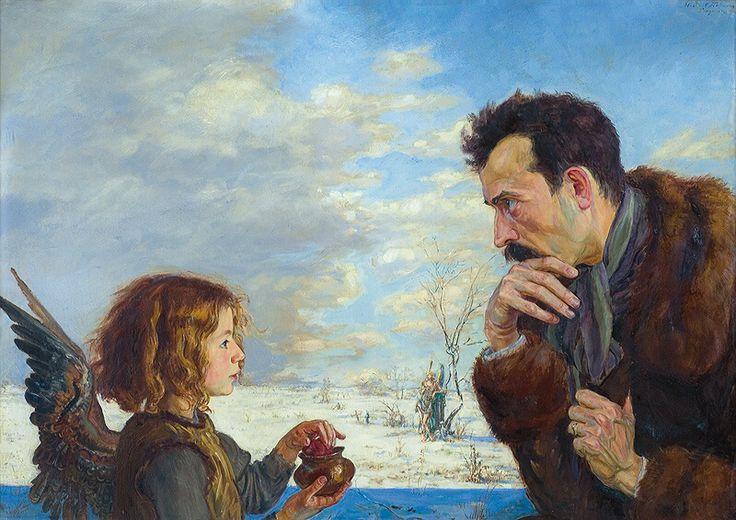 """Wlastimil Hofman 1881-1970 (Polish-Czech) """"Anhelli. Spotkanie z aniołem"""" ('Anhelli. Meeting angel' - Anhelli was a famous poem of Juliusz Słowacki about Polish emmigration), 1915"""