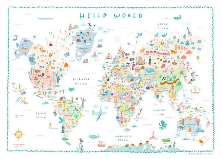 Les 25 meilleures id es de la cat gorie toiles des cartes for Planisphere pour enfant