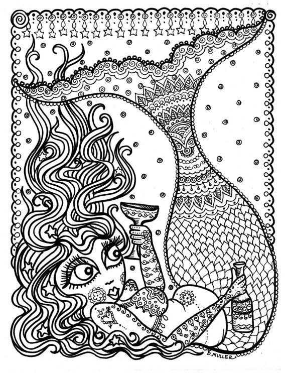 Mermaid Instant Download Coloring Page Coloring For Adults Fun Etsy Mermaid Coloring Book Mermaid Coloring Pages Coloring Pages