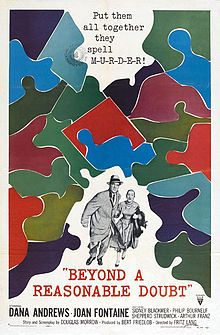 Beyond a Reasonable Doubt movie poster //   Directed byFritz Lang  Produced byBert E. Friedlob  Written byDouglas Morrow  StarringDana Andrews  Joan Fontaine  Music byHerschel Burke Gilbert  CinematographyWilliam Snyder  Editing byGene Fowler, Jr.  Distributed byRKO Radio Pictures Inc.  Release date(s)September 5, 1956