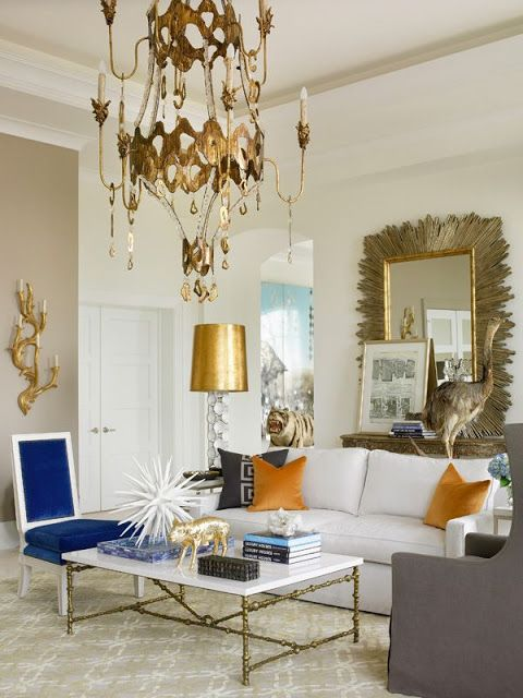 A mix of traditional and modern makes an elegant statement in this room. #decorating #home