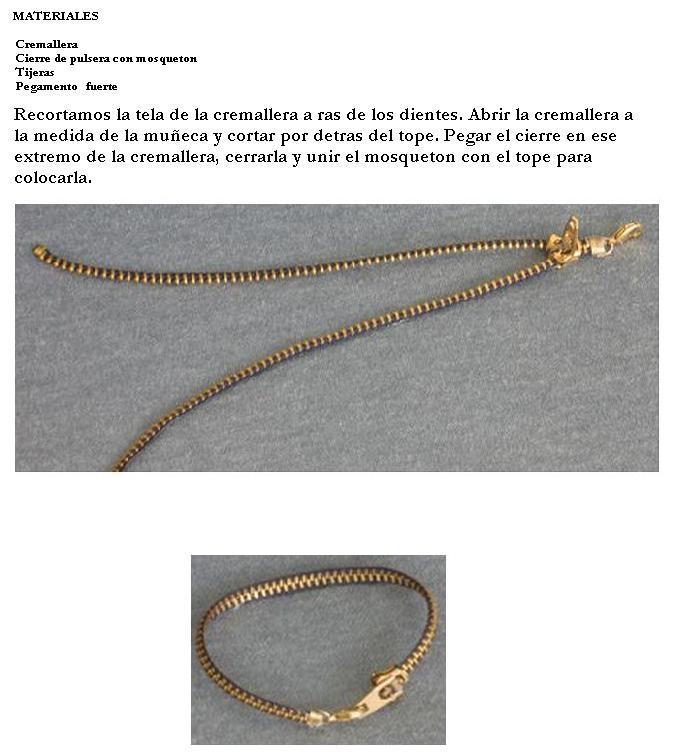 17 best mis manualidades images on pinterest bangle bracelets pulsera de cremallera fandeluxe Image collections