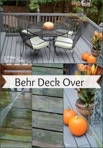 like the seating and wood colour. Behr Deck Over - this is a product designed to repair wood & concrete.  It's easy to apply, you don't need to prime the surface & it's an inexpensive way to redo your outdoor space!