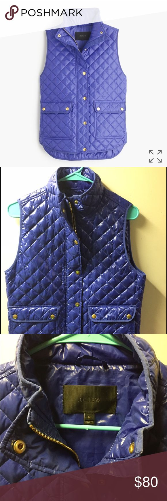J. Crew quilted puffer vest: Blue Brand new blue J Crew shiny quilted puffer vest. Never worn and purchased recently from J Crew. J. Crew Jackets & Coats Vests