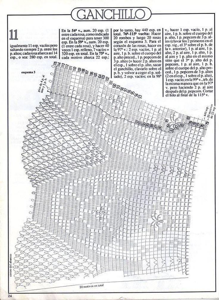 Кругла скатертина-філе, в'язана від центру схема 2