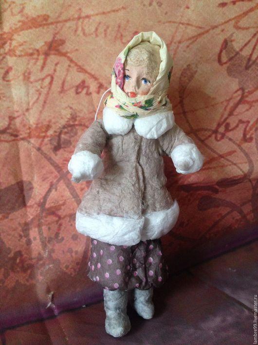 Коллекционные куклы ручной работы. Ярмарка Мастеров - ручная работа. Купить Ватная елочная игрушка Девушка в платке. Handmade.