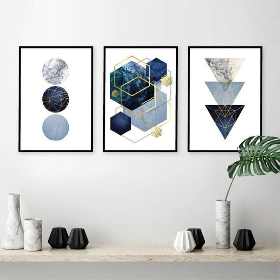 Set Of 3 Downloadable Geometric Abstract Prints Printable Wall Art Set Triptych In Navy Dark Blue Gold Wall Decor Digital Art Trending Now Gold Wall Decor Printable Wall Art Wall Art Decor