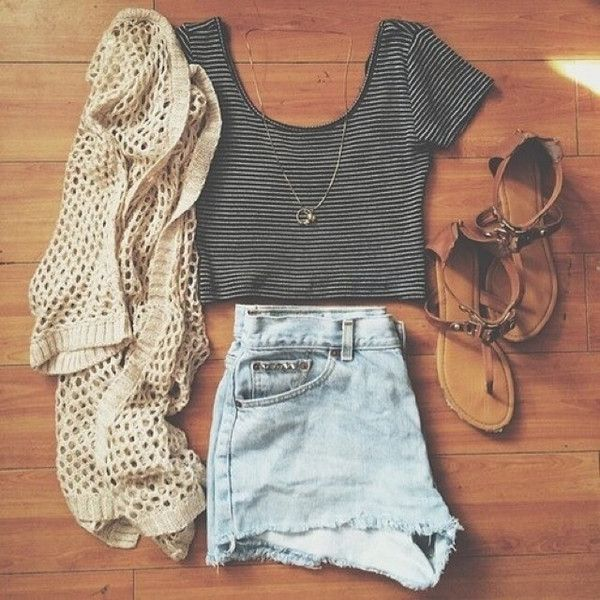 Cardigan high waisted shorts summer and grey crop top Best fashion style tumblr