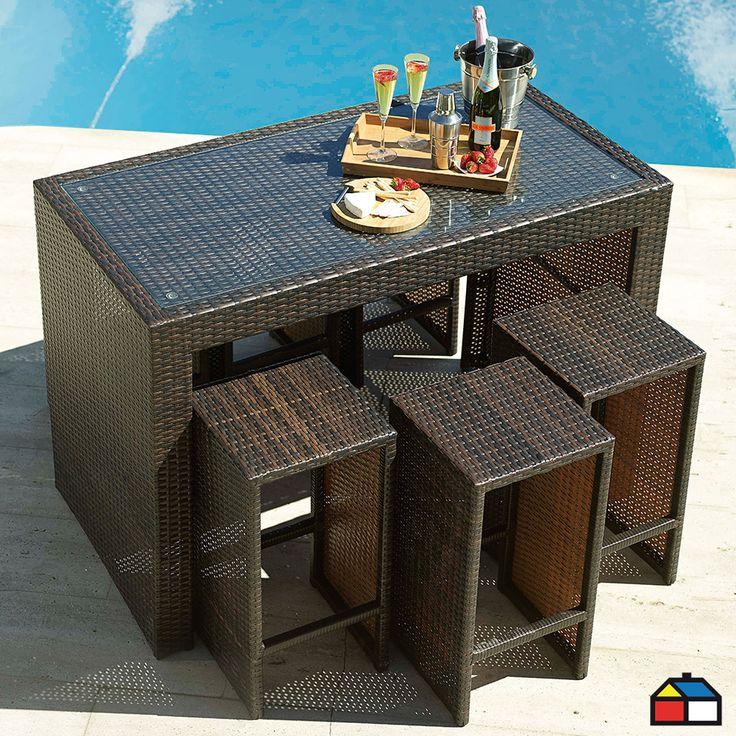 ¡Optimiza espacio en tu #terraza, con este juego de bar Madeira 7 piezas aluminio con ratán de PE!
