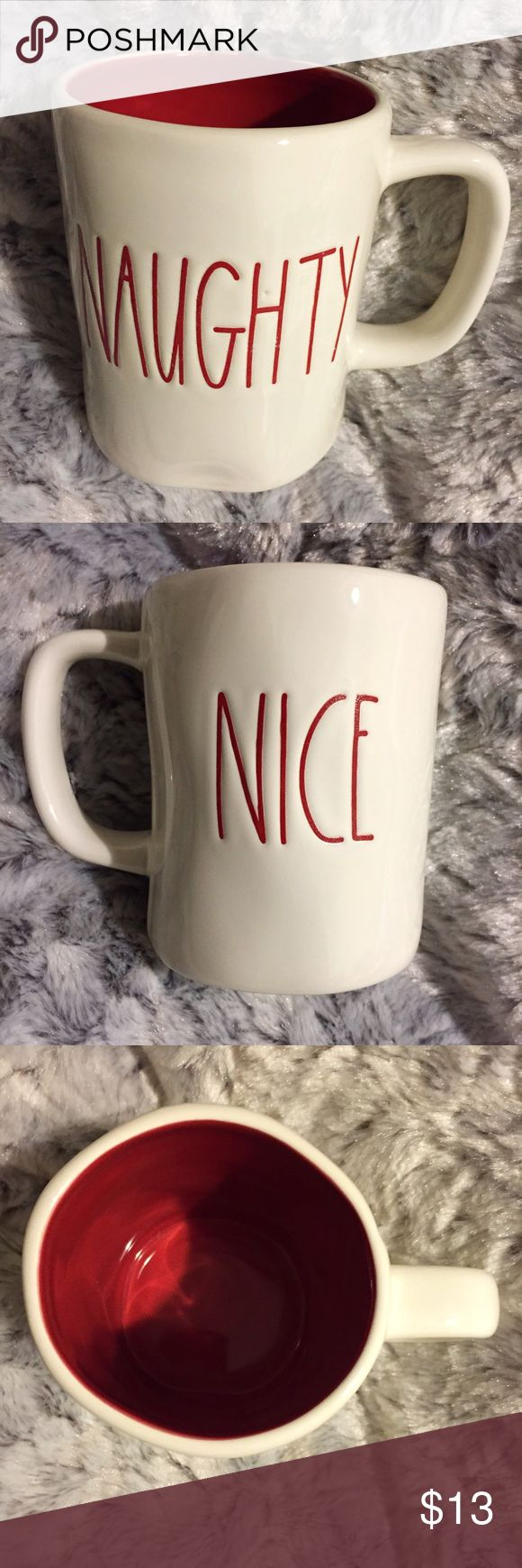 Rae Dunn NAUGHTY & NICE Red Mug Brand new, never used. This Rae Dunn NAUGHTY and NICE Off White / Ivory Mug is perfect for your morning cup of coffee or tea! Has NAUGHTY on one side & NICE on the other in red font. Interior of the mug is red also. I also have other Rae Dunn mugs, spoon rests and trays available in my closet! Rae Dunn Other