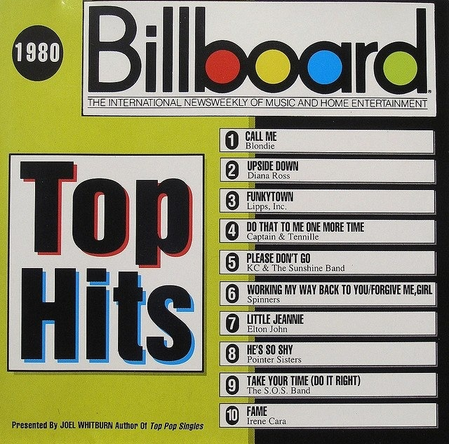 1980 Billboard Music top 10 hits -- I was in high school then.  Wow!