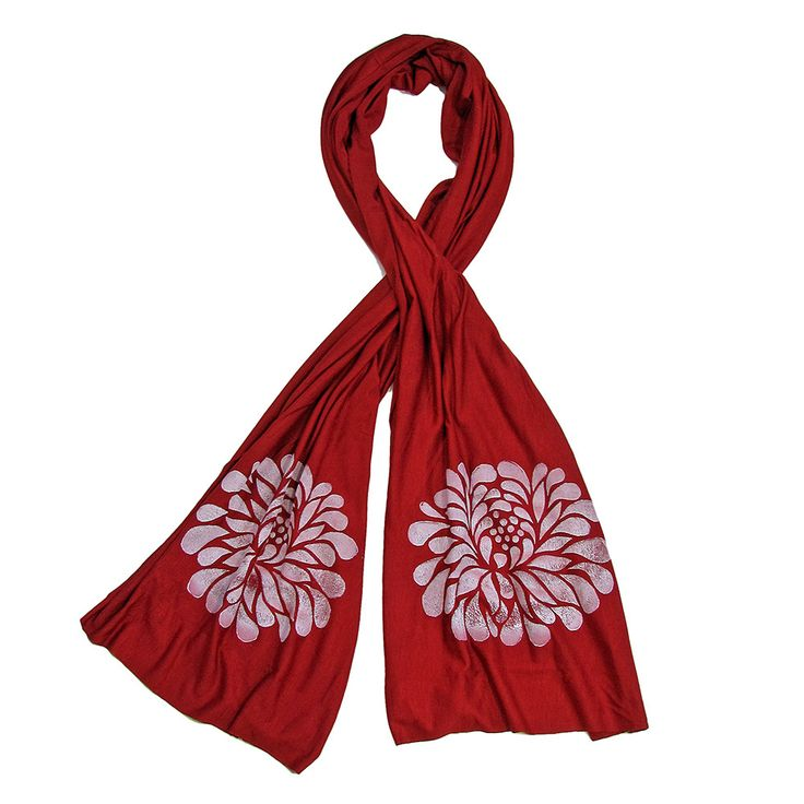 Wind Sparrow Hand Printed White Ink Botanical Fashion Scarf - Deep Persimmon Peony