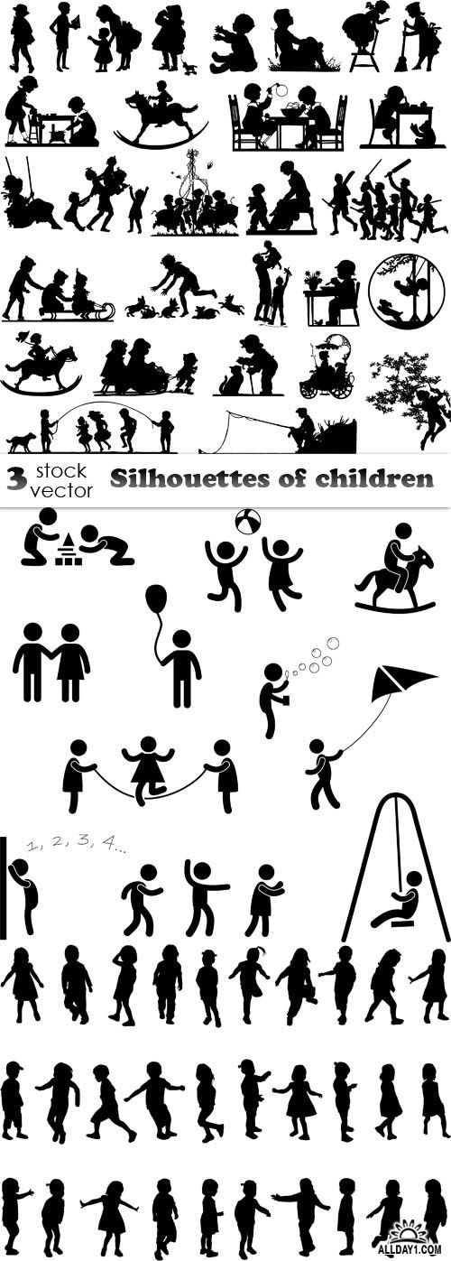 Vectors - Silhouettes of children