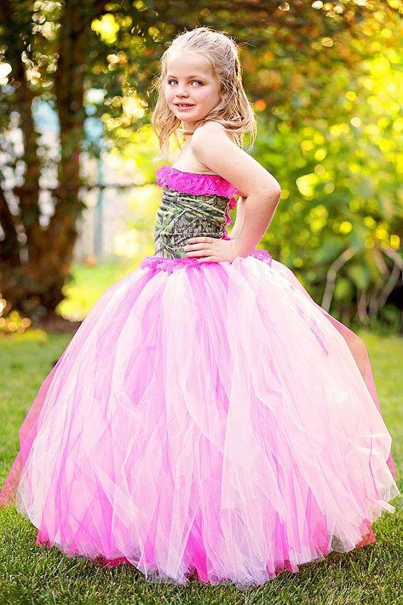 Hot pink camo flower girl dress, wedding, formal, birthday, tutu dress