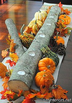 autumn log centerpiece, crafts, seasonal holiday d cor, Autumn Log Centerpiece via sasinteriors net