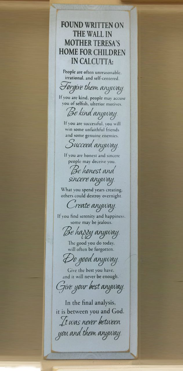 Mother Teresa Quote Wood Sign White