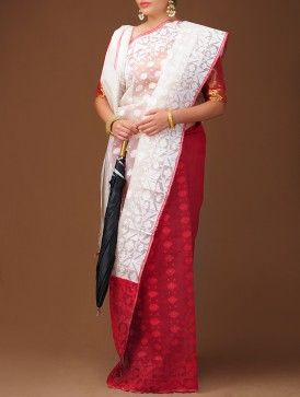 White-Red Dhakai Jamdani Cotton Saree