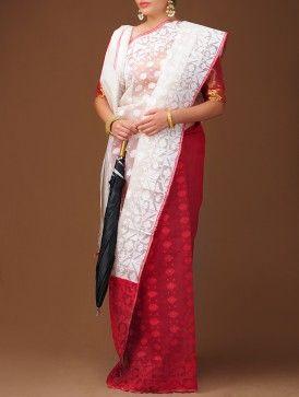 White-Red Dhakai Jamdani Cotton Saree