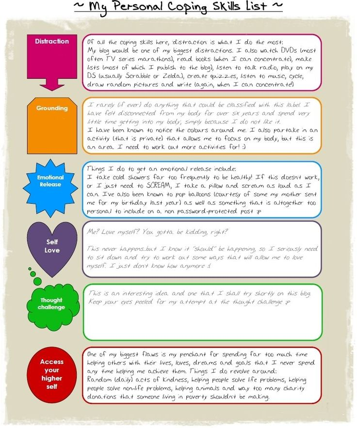 Coping Skills, would need to change it a little for kids, more explanation...