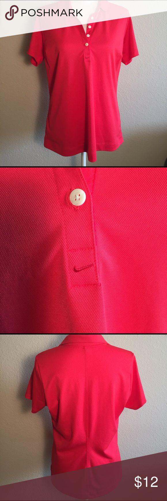 Nike women's golf shirt Medium. Dri fit. Bright orange red. Size large. Nike Tops Tees - Short Sleeve