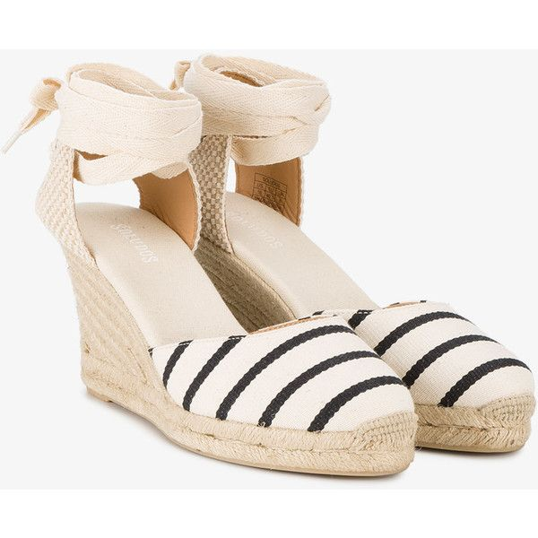 Soludos Wedge Heel Striped Espadrilles (190 AUD) ❤ liked on Polyvore featuring shoes, sandals, nude shoes, black wedge heel sandals, wedge heel sandals, black wedge espadrilles and black wedge shoes