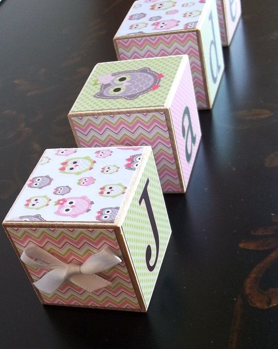 Wooden Baby Name Blocks - Pink and Green with Pink, Green and Grey Owls and Chevron on Etsy, $5.75