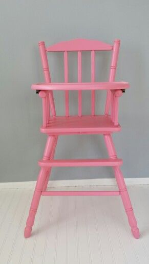 Paint an old wooden highchair pink for girls 1st birthday party.