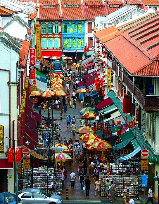 A typical street scene in China Town Singapore.